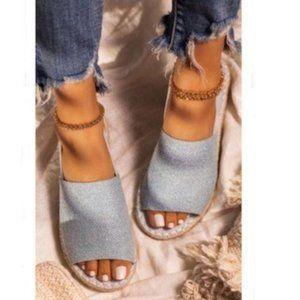 Shoes - !NEW! Peep Toe Slingback Espadrilles in Light Blue
